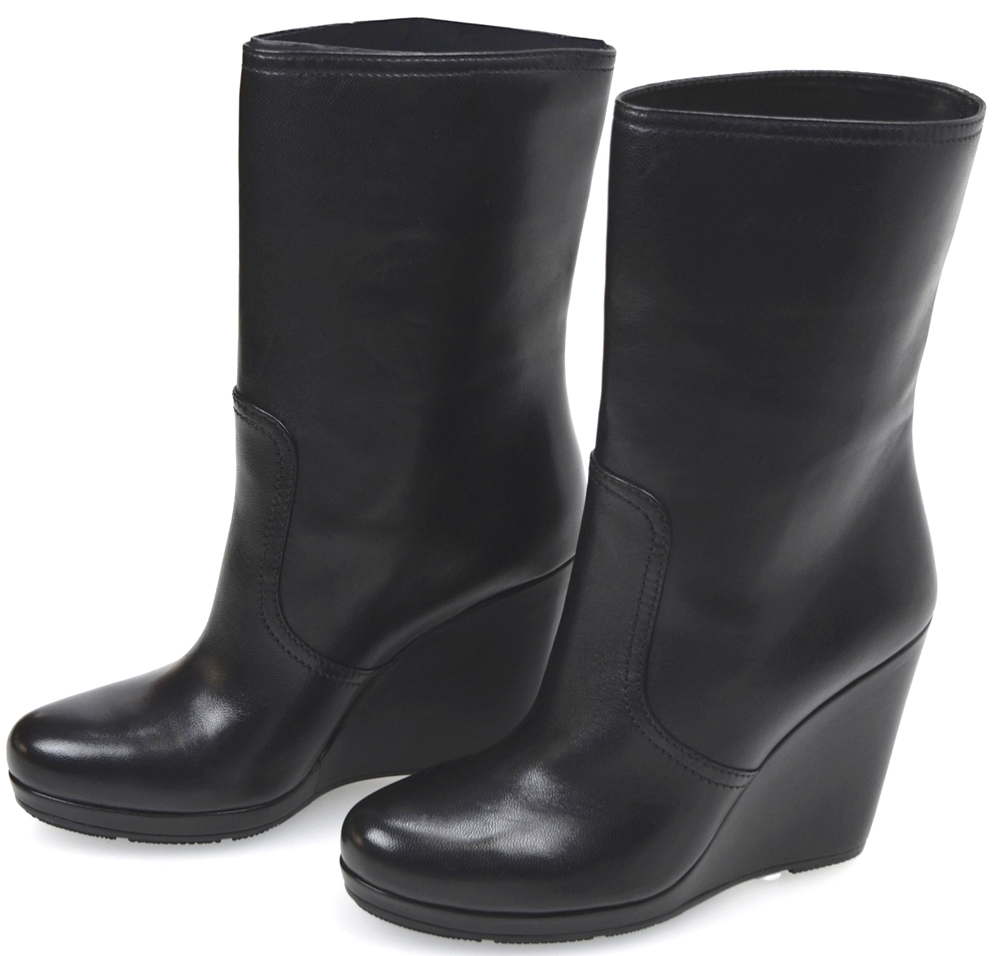 af165aa899 Details about PRADA WOMAN ANKLE BOOTS BOOTIES WITH WEDGE WINTER LEATHER  CODE 3UZ005