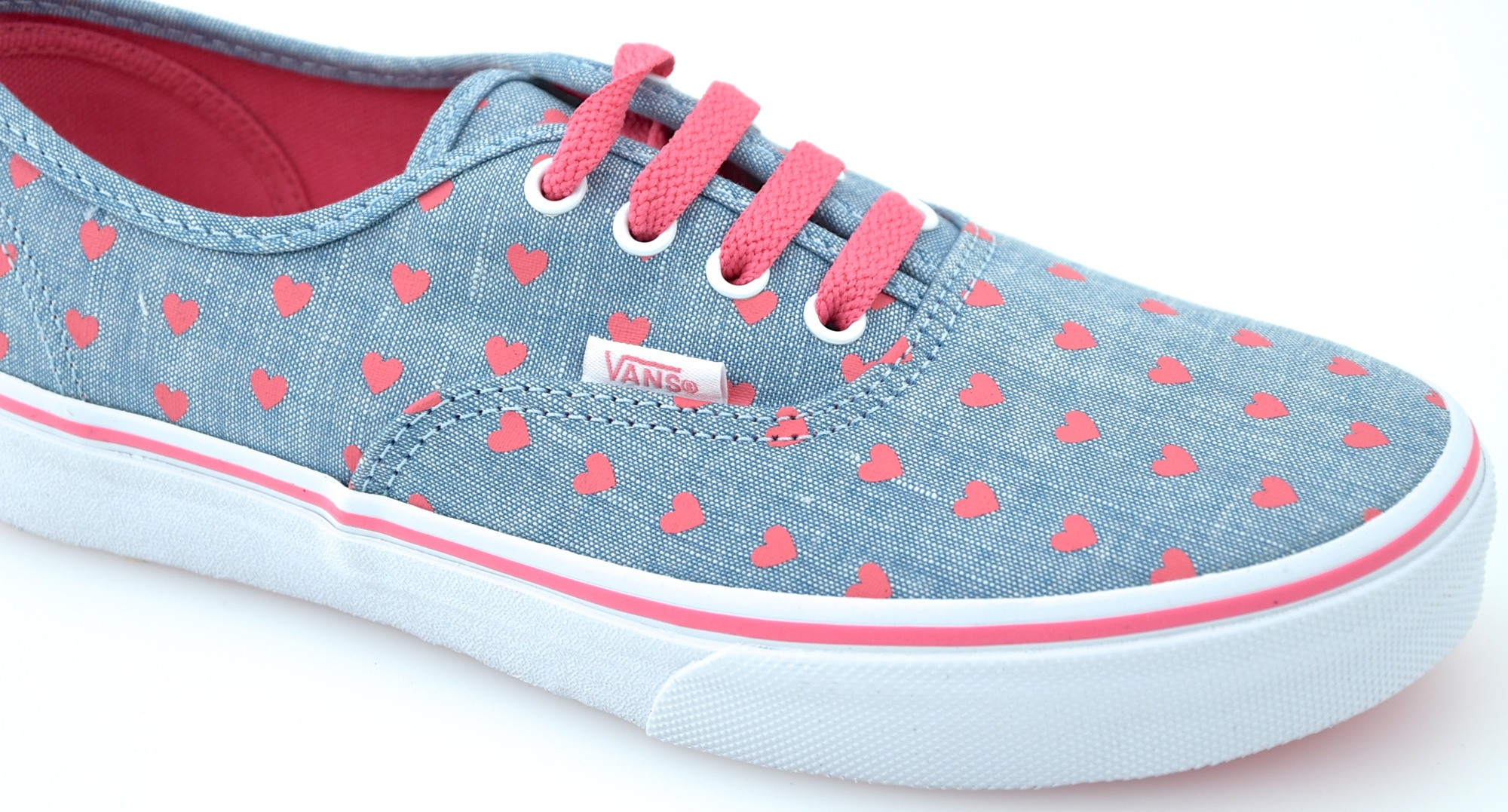 ee5df743dc VANS JUNIOR GIRL SNEAKER SHOES CHAMBRAY HEARTS CODE AUTHENTIC VN0A38H3MLA
